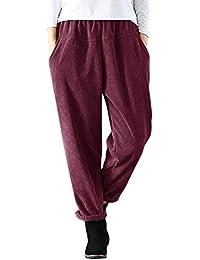 ORANDESIGNE Pantalones Largos de Mujer Cintura Elástica Roll Up Pantalones  de Pana Pantalones de Cintura Alta Pantalones Moda… ec2ff92a25d3