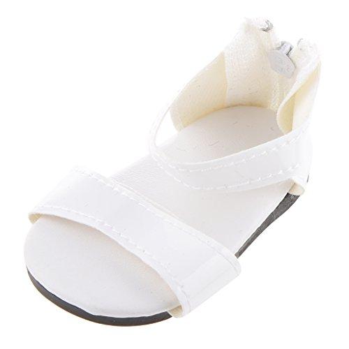 1 Par Zapatos Sandalia con Cremallera Blanco para Muñecas...