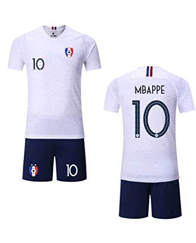 lowest price 0d412 b1522 ZIGJOY Maillots de Football Enfants de France Soccer Jersey 2018 Coupe du  Monde France 2 Étoiles Football T-Shirt et Short MBAPPE10 WB Child 26