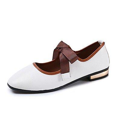 Shoeshaoge Chaussures Femmes Pu Automne Confort Appartements Flat Talon Carré Lace-up Toe Pour Casual Blushing Rose Blanc Noir Blanc