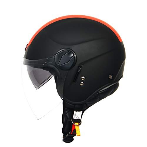Motorradhelm, Halbschalenhelm, Jethelme Harley Vintage Motorbike Helm Lokomotivhelm Elektroauto Helm 2*PC HD Kratzfestes Blendschutz Linse Straßenverkehrsordnung Einhalten, alpha red-M(54~56cm)