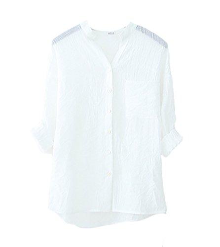 Camicia donna elegante manica lunga collo coreana single-breasted vintage basic tinta unita casual moda camicetta camice blusa