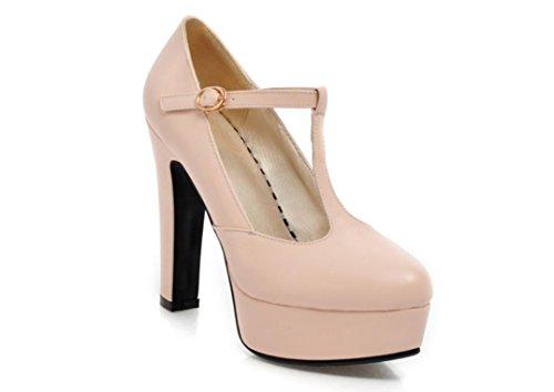 YCMDM Femmes Ultra Haut Avec Chaussures De Mode T Station Boucle Imperméable Plate-forme Simple Chaussures pink