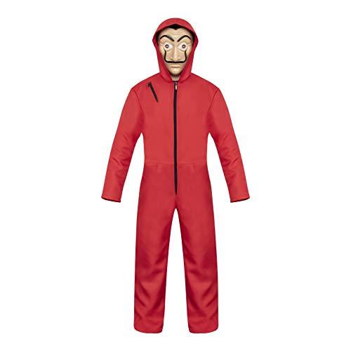 Maske Kostüm Latex Adult - Sakurio La Casa De Papel Cosplay-Kostüm Dali Overall (mit Latex-Maske), Unisex, Rot