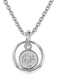 trendor Silber Kinder-Halskette mit Taufring-Anhänger Lebensbaum 08468