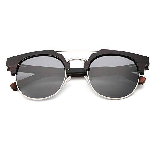 GAOHAITAO Halbrahmen polarisierte Holz Sonnenbrillen Männer Frauen halb randloses Design Bmboo Sun Glass,Schwarze Linse