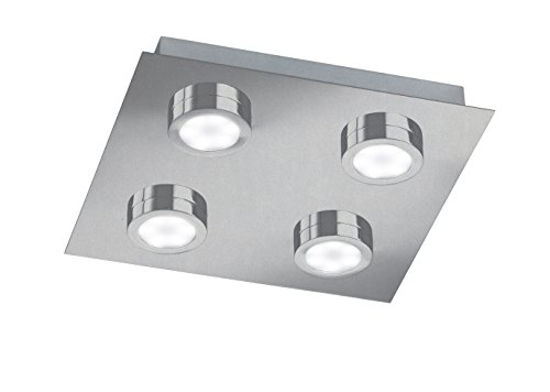 Action Deckenleuchte, 4-flammig, Veneta, 4 x LED, 3 W, 25 x 4 x 25 cm, 3000 K, 210 lm, nickel matt 987104640000