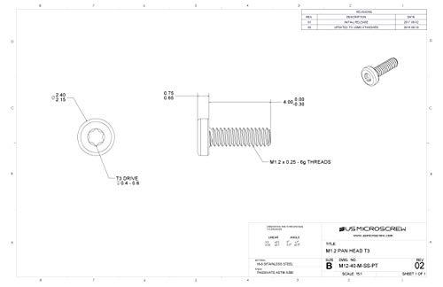 M1,2-0,25x 4mm Maschine Schraube Edelstahl Pfanne Kopf 6-lobe Antrieb (100PCS)-M12-40-m-ss-pt -