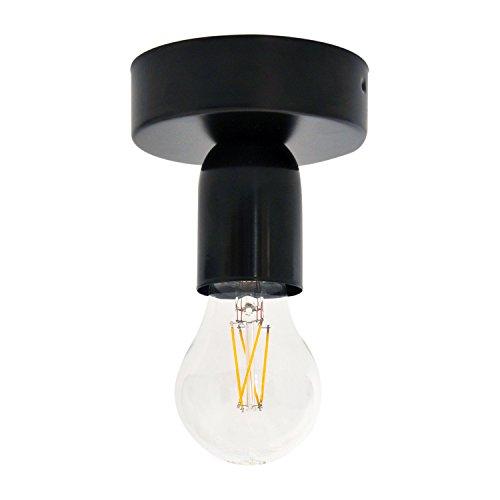 Lampenfassung mit Halterung für Decke oder Wand aus schwarzem Metall