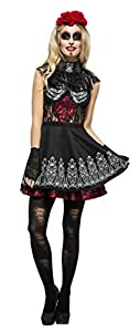 Smiffys-44541S Disfraz del Día de Muertos de Fever, con Vestido, Enagua incorporada y di, Color Negro, S - EU Tamaño 36-38 (Smiffy