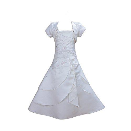 Cinda Mädchen Brautjungfer / Heilige Kommunion Kleid- 122-128 (7-8 Years), Elfenbein (Satin Langes Kleid)