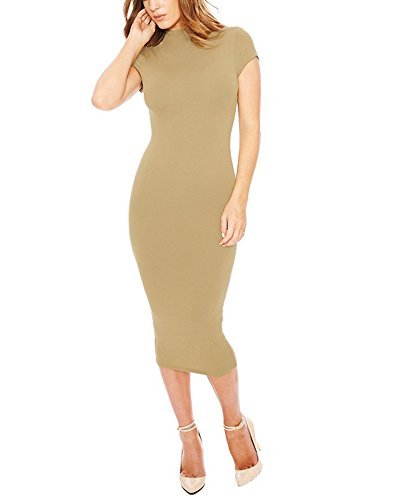 SaiDeng Femmes Classique Couleur Pure Slim Fit Scoop Cou Court Manche Midi Robe Kaki