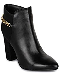 Bruno Manetti Women Faux Leather Black Heel Boots