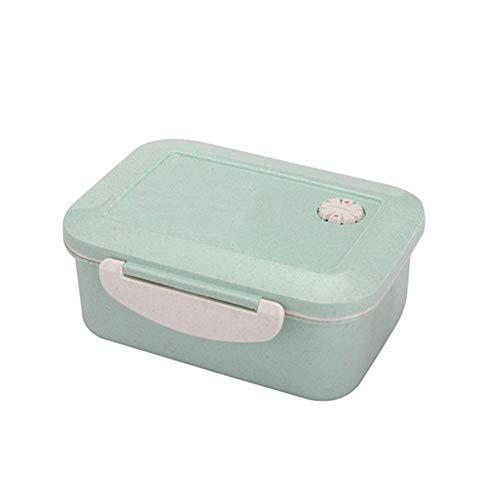 Yarmy Bento Box,Brotdose Weizen Stroh Mikrowelle Geschirr Lunchbox Qualität Gesundheit natürliche Doppelschicht Student tragbare Lagerung von Lebensmitteln