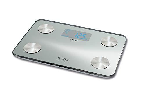 Caso body fit Design Personenwaage (3410) Ultra slim - lässt sich gut in kleinen Badezimmern verstauen, 10 Personen Speicher, BMI