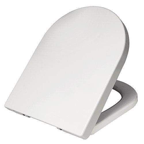 WOLTU WS2723-a Premium WC-Sitz Weiß, Toilettensitz mit Absenkautomatik, rostfreier Fix-Clip Edelstahlbefestigung, Duroplast, antibakteriell