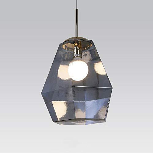 HOMECR Kreativer Lava-Kronleuchter Farbe Geformt Diamant Glas Pendelleuchte Nordic Postmodernen Wohnzimmer Esszimmer Schlafzimmer Studie Lampe Silver-Large