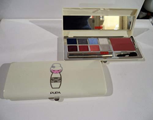 Make Up Set: Pupa Kokeshi Palette - (White) # 01 Blue - 16.8g/0.59oz - Pupa Augen-palette