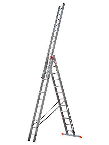 STRUKTURO Vielzweckleiter 3x12 Sprossen, 3-teilige Alu-Kombileiter, max. Arbeitshöhe 9,25 m