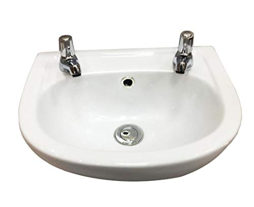 Small Cloakroom Basin Sink 2 Tap Holes