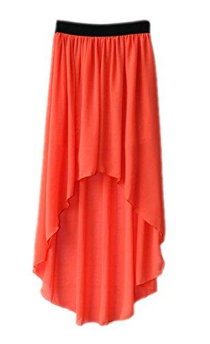 Honeystore Damen's Elegant Rock A-Linie Asymmetrisch Cocktail Chiffon Abendrock Orange One Size
