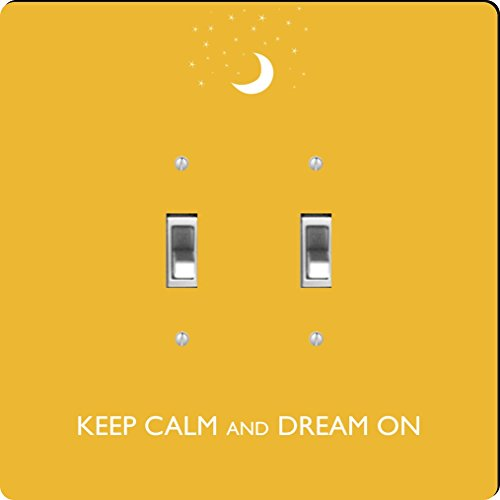 Rikki Knight Keep Calm and Dream on-yellow Farbe Design Double Toggle Light Switch Plate (Plate Yellow Wall)