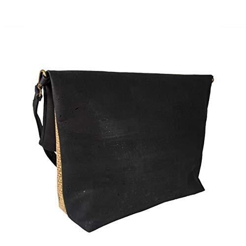 CorkLane Damen Fold over bag Korkleder vegan Falt-Handtasche Tasche Kork schwarz - 4