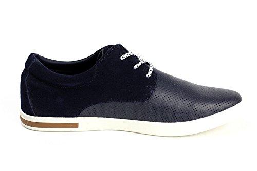 JAS MODE CUIR pour hommes à lacets décontracté plat conduite Chaussures Italien Mode Bleu
