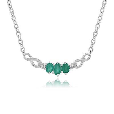 9ct White Gold 0.56ct Natural Emerald & Diamond 42cm Necklace