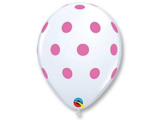 296627,9cm rund weiß, Big Pink Polka Dots Latex Luftballons 25CT ()
