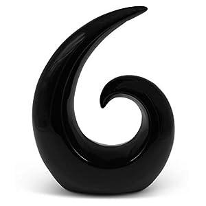FeinKnick Stilvolle Skulptur aus Keramik – moderne Dekoration in Schwarz – Deko Spirale 20 cm hoch – ideal als…