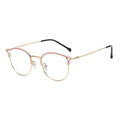Zhuhaixmy Metall Oval Frame Anti Blau Licht Gläser - UV Schutz Phones Video Spiel Brille Cat Eye Rimmed Goggle für Männer Women (Rosa+Gold)