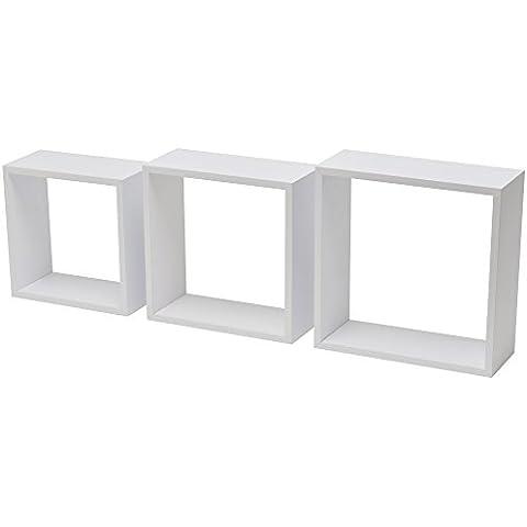 Duraline Tres Cubos de estantería, color blanco, 1,2x 24x 24/1.2X 27X 27/1.2X 30X 28Cm,