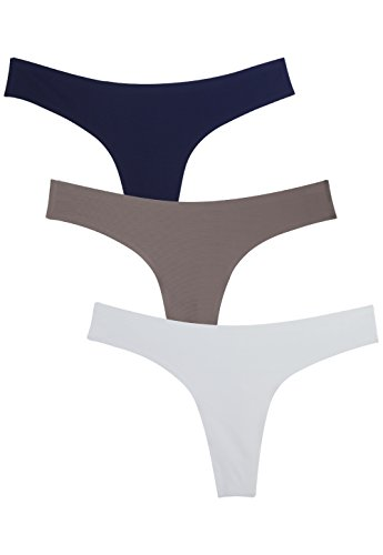 Wealurre Damen Unterwäsche Low Rise Tanga Microfiber Thong 3 Pack(M,Dark Blue,Brown,Gray) -