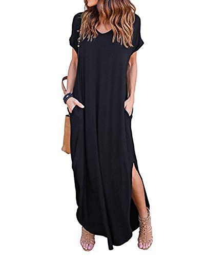 Kidsform Femme Robe ete Maxi Casual Manche Courte Col V Dress Plage Poche Tunique Longue, Noir, 36 EU (Fabricant: Taille S)