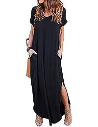 Kidsform Women Maxi Dress Floral Kaftans Side Split Casual Loose Pockets Long/Short Sleeve Beach T-Shirt Dress