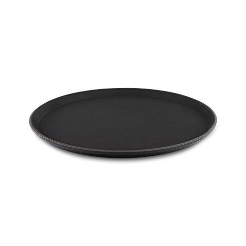 tuffgrip Super Kunststoff rutschfeste Gummierte Anti-Rutsch, rutschfeste Lebensmittel Tablett, rund, 40,6cm/40cm Durchmesser, Schwarz
