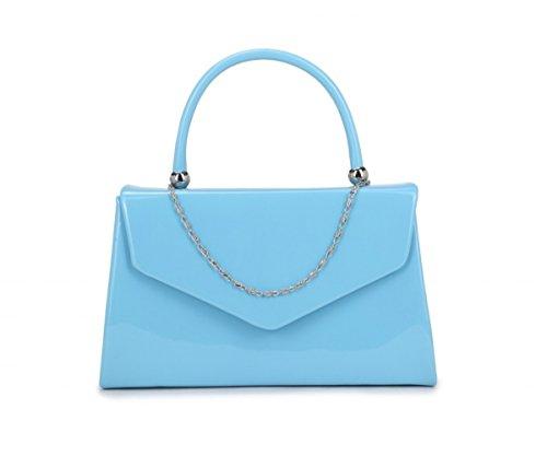 Papaya Fashion Abendtasche aus Lackleder Blaugrün