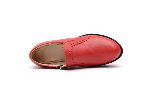 AllhqFashion Femme Couleur Unie Matière Souple à Talon Correct Zip Rond Chaussures Légeres Rouge