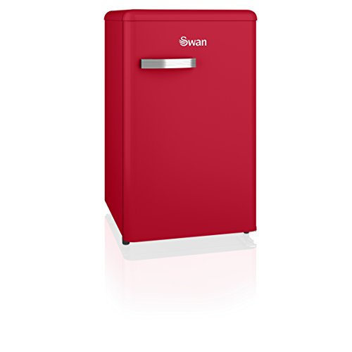 Swan SR11035RN, Freestanding Retro Under Counter Fridge Freezer, A+ Rated, 90 Litre, Red Best Price and Cheapest