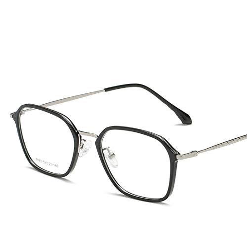 Mkulxina Mode Unisex Retro quadratische Brille Nicht verschreibungspflichtige Brille Männer, Frauen (Color : Black+Silver)