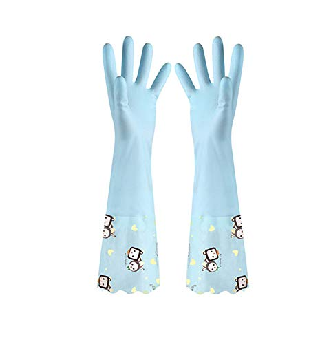 GH-YS Haushaltsreinigungshandschuhe Sowie Samt Dicke PVC wasserdichte Rutschfeste Hausarbeitshandschuhe Zum Reinigen Von Geschirr (2),Blue