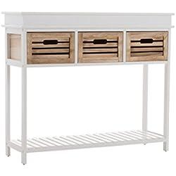 Mueble Consola Bartolome, con 3 cajones, 100 x 32 cm, Altura 85 cm Blanco/marrón
