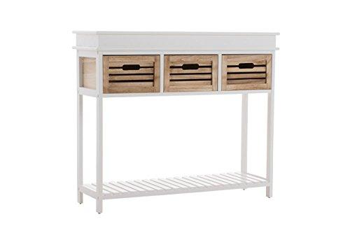 CLP Holz-Konsolentisch BARTOLOME, Landhaus Stil, 3 Schubladen, ca 100 x 30 cm, Höhe 85 cm weiß/braun