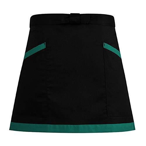 WHAIYAO-Schürze Lätzchen for Frauen Männer Erwachsene Mit 2 Taschen Hauptküche Werbung Arbeitsdienstprogramm Waschmaschinenfest, 3 Farben (Color : Green, Size : 39X67cm) -