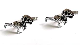 Mens Silver Tyrannosuarus Rex Cufflinks & Gift Box T Rex Dinosaur By Onyx Art