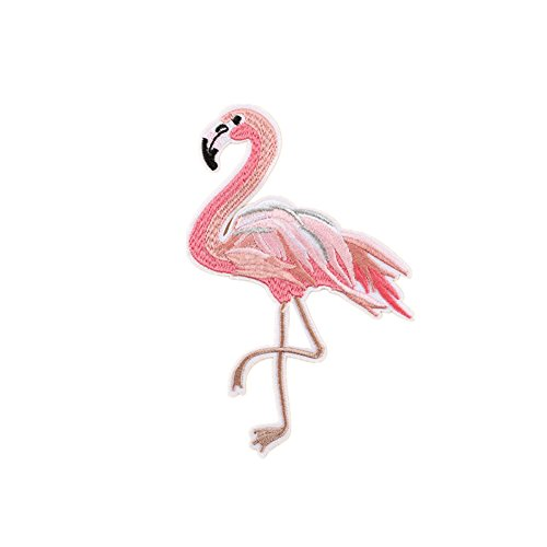 5X Toruiwa Patches Bestickte Aufnäher Mini Flamingo Patches Nähen Patch Sticker Applique Badge für Kleid Hut Schuhe Jeans DIY Kostüm Schmücken Rosa size 9.8*15cm (H)