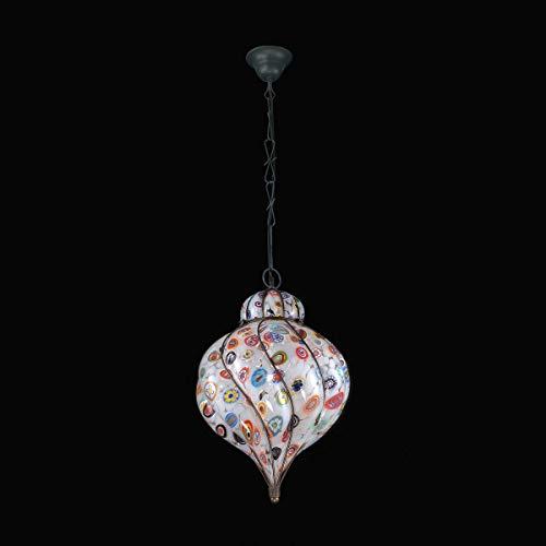 Murano Collection Murano Glas Hängeleuchte Galbajo in Weiß Multicolor | Handgefertigt in Italien | Pendelleuchte Klassisch weiß multicolour | Lampe E27 - Murano Glas Hängeleuchte