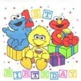 Sesame Babys 1 St Birthday 16 Luncheon Napkins