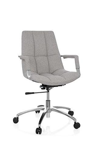 Sedia da ufficio girevole saranto tessuto in stile retrò con guscio seduta sedia da ufficio, braccioli, meccanismo basculante per lordosi, ergonomico, poltrona direzionale hjh office beige